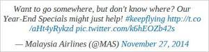 Malaysia Airline Tweet